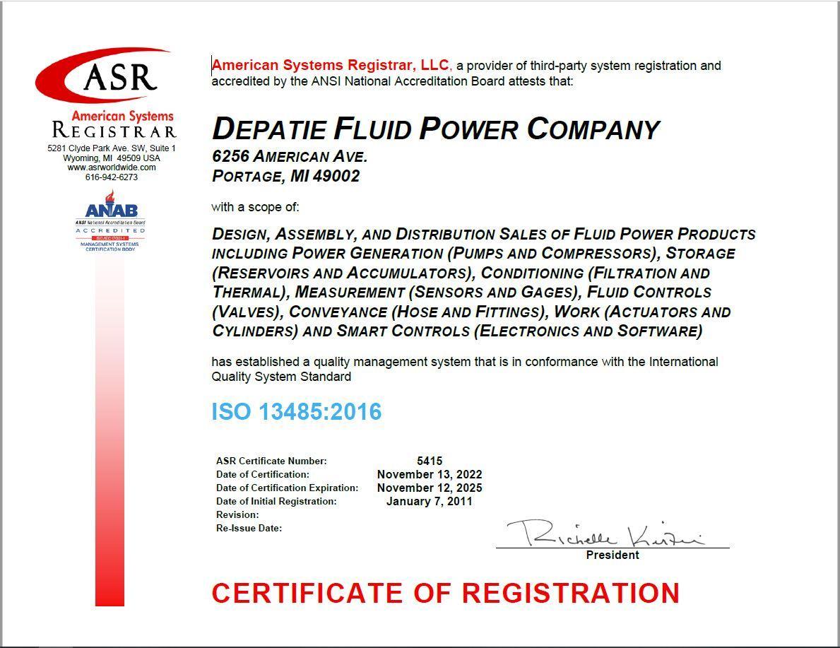 Certifications | Depatie Fluid Power